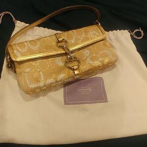 Coach small gold shoulder bag